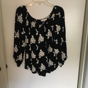 anthropology black and white floral stitched top
